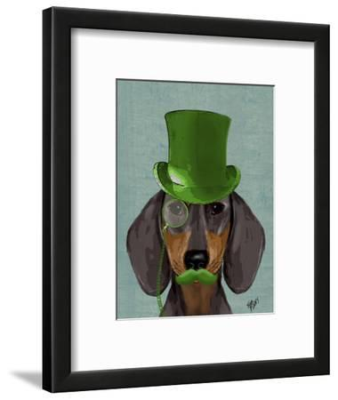Dachshund with Green Top Hat Black Tan by Fab Funky