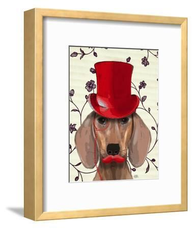 Dachshund With Red Top Hat by Fab Funky