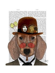 Dachshund with Steampunk Bowler Hat by Fab Funky