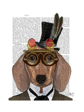 Dachshund with Top Hat and Goggles by Fab Funky