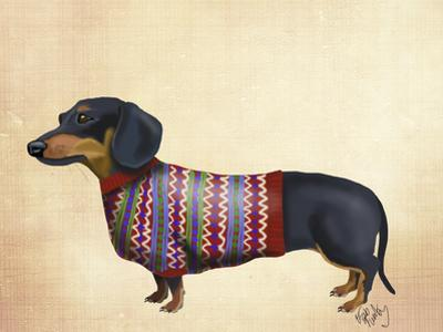 Dachshund With Woolly Sweater by Fab Funky