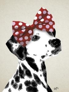 Dalmatian With Red Bow by Fab Funky