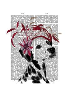 Dalmatian With Red Fascinator by Fab Funky