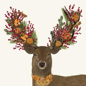 Deer, Cranberry and Orange Wreath by Fab Funky