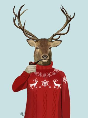 Deer in Ski Sweater by Fab Funky