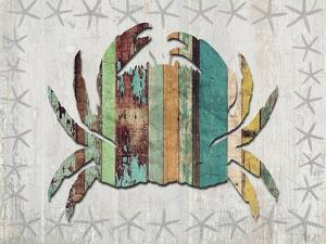 Distressed Wood Style Crab 1 by Fab Funky