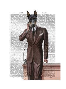 Doberman on Phone by Fab Funky
