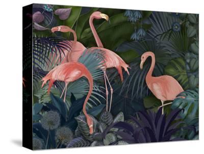 Flamingos in Blue Garden