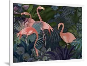 Flamingos in Blue Garden by Fab Funky