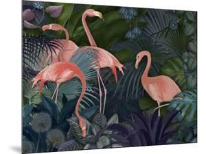 Flamingos in Blue Garden by Fab Funky