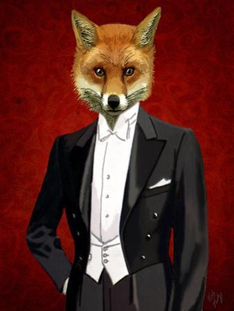 Fox in Evening Suit Portrait by Fab Funky