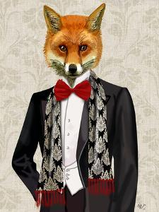 Fox with Red Bow Tie by Fab Funky