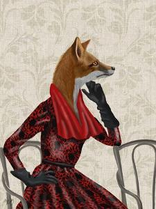 Fox with Red Scarf by Fab Funky