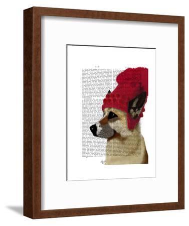 German Shepherd in Red Woolly Hat
