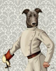 Greyhound Fencer in Cream Portrait by Fab Funky
