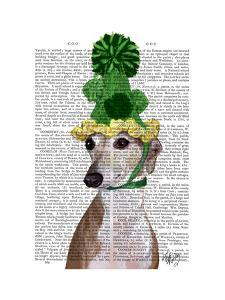 Greyhound in Green Knitted Hat by Fab Funky