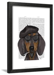 Hipster Dachshund Black and Tan · Fab Funky. Framed Art Print 6351c0e21d80