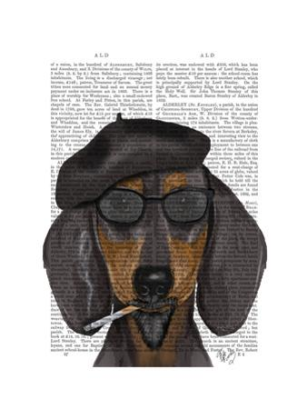 Hipster Dachshund Black and Tan by Fab Funky