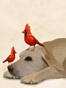 Labrador with Red Birds by Fab Funky