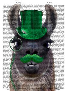 Llama With Green Top Hat and Moustache by Fab Funky