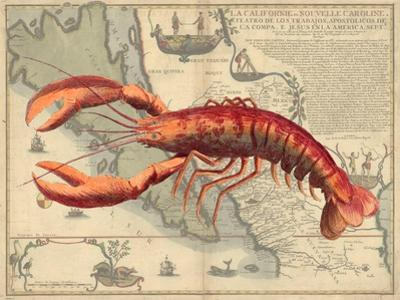 Lobster print on Nautical Map by Fab Funky