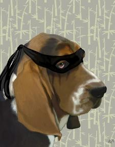 Ninja Basset Hound Dog by Fab Funky
