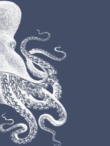 Octopus Indigo Blue and Cream b by Fab Funky