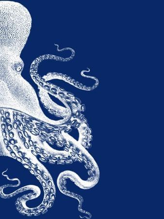 Octopus Navy Blue and Cream b by Fab Funky