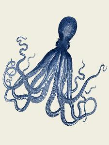 Octopus Print Blue on Cream c by Fab Funky