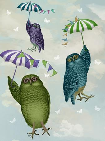 Owls with Umbrellas by Fab Funky