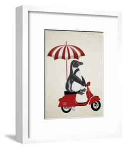 Penguin On Red Moped by Fab Funky