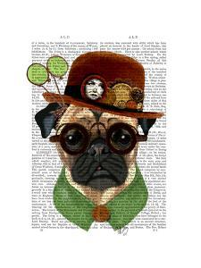 Pug with Steampunk Bowler Hat by Fab Funky