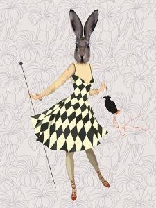 Rabbit in Black White Dress by Fab Funky