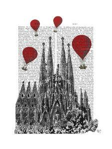 Sagrada Familia and Red Hot Air Balloons by Fab Funky