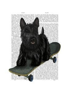 Scottish Terrier and Skateboard by Fab Funky