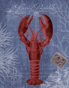 Seaside Postcard Red on Blue d by Fab Funky