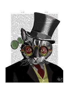 Steampunk Cat - Top Hat and red yellow glasses by Fab Funky