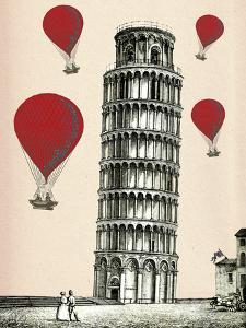 Tower of Pisa and Red Hot Air Balloons by Fab Funky