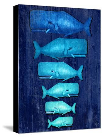 Whale Family Blue on Blue