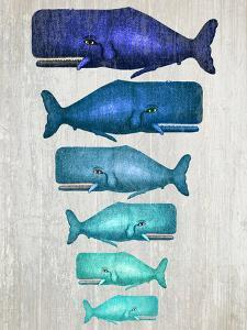 Whale Family Blue On White by Fab Funky
