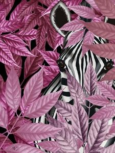 Zebra in Pink Leaves by Fab Funky