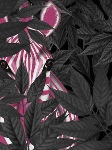 Zebra, Pink in Black Leaves by Fab Funky