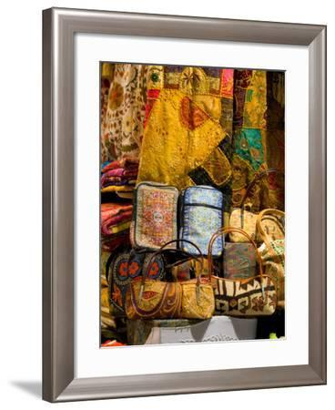 Fabrics for Sale, Vendor in Spice Market, Istanbul, Turkey-Darrell Gulin-Framed Photographic Print