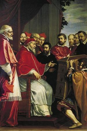 Michelangelo Presenting Model of Building of Rota Court in Giulia Street to Pope Julius III