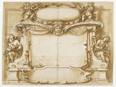 Projet de monument funéraire orné de quatre anges et un mascaron