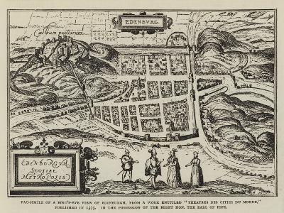 Fac-Simile of a Bird'S-Eye View of Edinburgh--Giclee Print