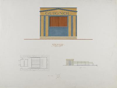 Façade en couelur du théâtre du Ranelagh, plan et élévation de profil--Giclee Print