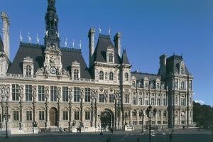 Facade of a Building, Hotel De Ville, Paris, France