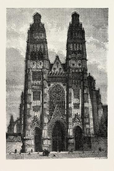 Facade of the Metropolitan Church of Tours, France. 1855--Giclee Print