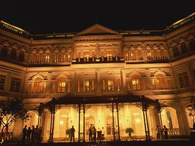 Facade of the Raffles Hotel at Night in Singapore, Southeast Asia-Steve Bavister-Photographic Print